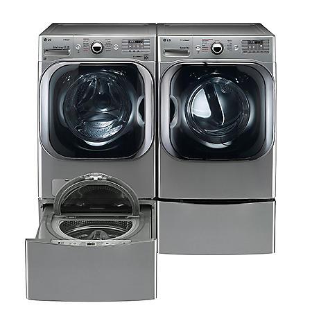 LG 5.2 cu. ft. Front Load Washer & 9.0 cu. ft. Dryer on SideKick Pedestal - Graphite Steel
