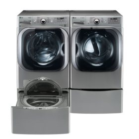 LG 5.2 cu. ft. Front Load Washer & 9.0 cu. ft. Dryer on SideKick Pedestal - Graphite Steel
