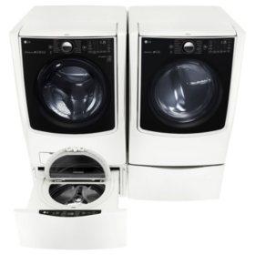 LG - Mega-Capacity Front-Load Washer, SideKick Pedestal Washer, and Gas Dryer with Laundry Pedestal Bundle - White
