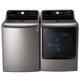 LG - Mega-Capacity Top-Load Washer with TurboWash Technology and TurboSteam Gas Dryer with EasyLoad Door Bundle - Graphite Steel
