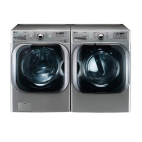 LG 5.2 cu. ft. Front Load Washer & 9.0 cu. ft. Dryer - Graphite Steel