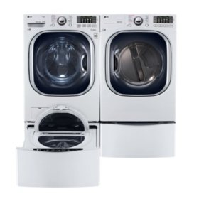 LG - Ultra-Large-Capacity Front-Load Washer, SideKick Pedestal Washer, and Gas Dryer with Laundry Pedestal Bundle - White