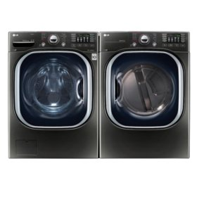 LG - Ultra-Large Capacity Front-Load Washer and Dryer Bundle - Black Stainless Steel