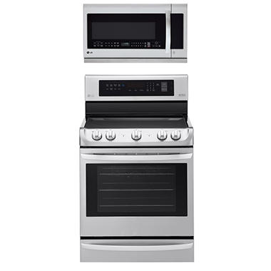 Electric Single-Oven Range with ProBake Convection and Over-the-Range Microwave Oven with EasyClean Bundle - Stainless Steel