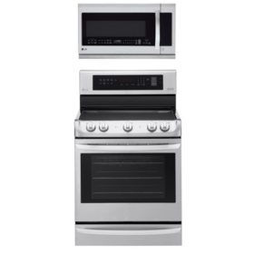 LG - Electric Single-Oven Range with ProBake Convection and Over-the-Range Microwave Oven with EasyClean Bundle - Stainless Steel