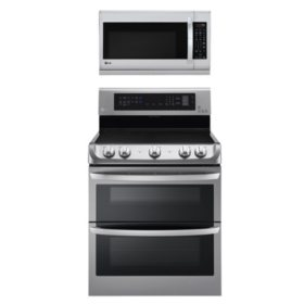 LG Electric Double-Oven Range with ProBake Convection, EasyClean and Infrared Grill System with Over-the-Range Microwave Oven with EasyClean Bundle - Stainless Steel