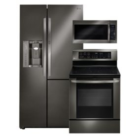 LG 3pc Kitchen Suite with Side-by-Side Refrgierator in Black Stainless Steel