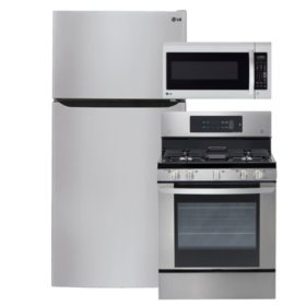 """LG Large-Capacity 33"""" Wide Top-Freezer Refrigerator, Single-Oven Gas Range, and Over-the-Range Microwave Bundle - Stainless Steel"""