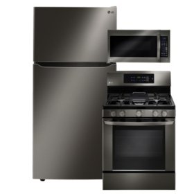 """LG Large-Capacity 33"""" Wide Top-Freezer Refrigerator, Single-Oven Gas Range, and Over-the-Range Microwave Bundle - Black Stainless Steel"""