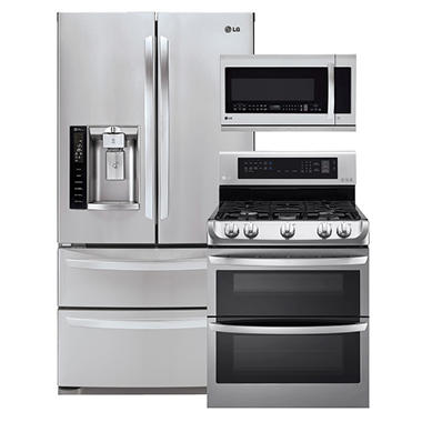 LG Ultra-Capacity 4-Door French Door Refrigerator, Double-Oven Gas Range Range with ProBake Convection, and Over-the-Range Microwave Bundle - Stainless Steel