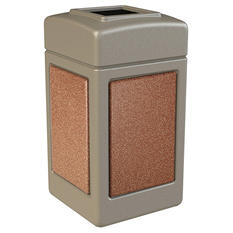 Commercial Zone StoneTec Waste Container, 42-gal, Polyethylene, Beige with Sedona Panels