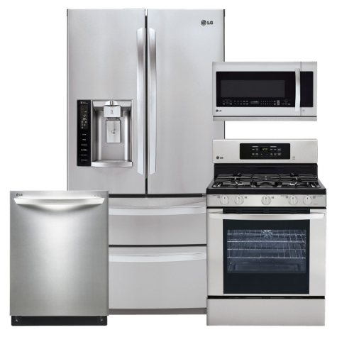 LG Ultra-Capacity 4-Door French Door Refrigerator, Single-Oven Gas Range Range with EasyClean, Over-the-Range Microwave, and Dishwasher Bundle - Stainless Steel