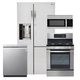 LG - Side-by-Side Refrigerator with Door-in-Door, Single-Oven Gas Range, Over-the-Range Microwave, and Dishwasher Bundle - Stainless Steel
