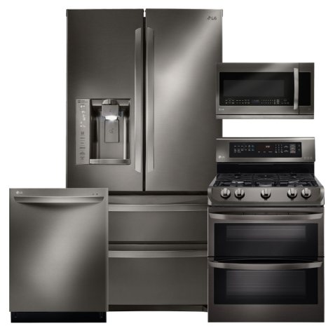 LG Ultra-Capacity 4-Door French Door Refrigerator, Double-Oven Gas Range with ProBake Convection, Over-the-Range Microwave, and Dishwasher Bundle - Black Stainless Steel