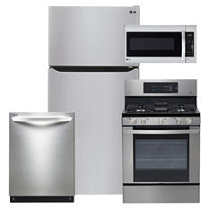 """LG Large-Capacity 33"""" Wide, Top-Freezer Refrigerator, Gas Range, Over-the-Range Microwave, and Dishwasher Bundle - Stainless Steel"""