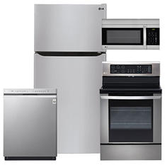 """LG Large-Capacity 33"""" Wide, Top-Freezer Refrigerator, Single-Oven Electric Range with EasyClean, Over-the-Range Microwave, and Dishwasher Bundle - Stainless Steel"""