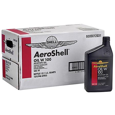 AeroShell W100 Aviation Oil - 1 Quart Bottles - 12 Pack