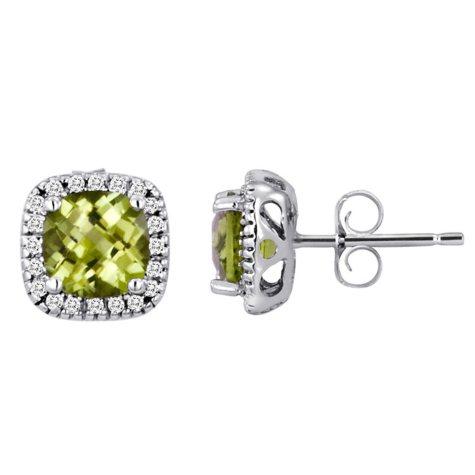 Cushion-Cut Peridot and Diamond Earrings in 14k White Gold
