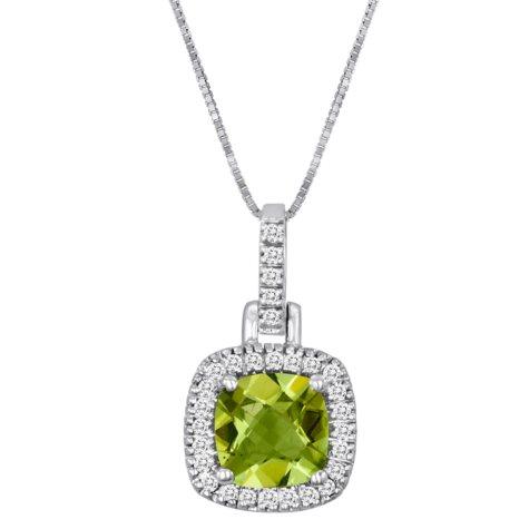 Cushion-Cut Peridot and Diamond Pendant in 14k White Gold