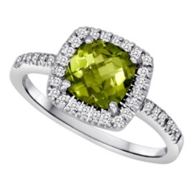 Cushion-Cut Peridot and Diamond Ring in 14k White Gold