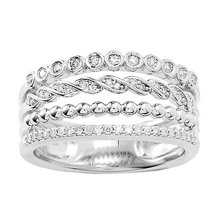 Sterling Silver and Diamond Stacked Ring