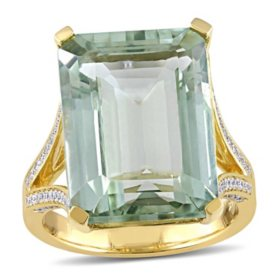 Allura 15 ct. Octagon-Cut Prasiolite Quartz and Diamond Cocktail Ring in 14K Yellow Gold