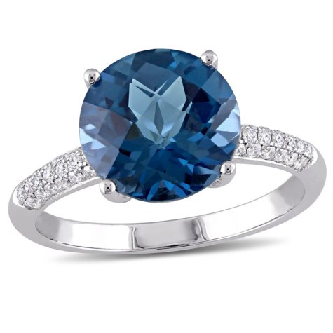 4.57 CT. Checkerboard London Blue Topaz and Diamond Cocktail Ring in 14K White Gold