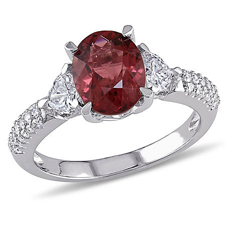Allura 1.95 CT. Oval-Cut Pink Tourmaline with 0.67 CT. Heart and Round-Cut Diamond Accent Floral Ring in 14K White Gold