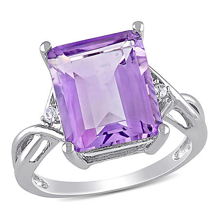 5.91 CT. Emerald Cut Amethyst and White Topaz Cocktail Ring in Sterling Silver