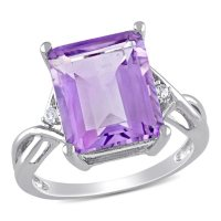 Emerald Cut Amethyst and White Topaz Cocktail Ring in Sterling Silver