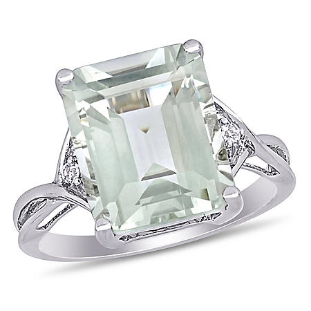 1f6b56d22 Emerald-Cut Green Amethyst and White Topaz Cocktail Ring in Sterling Silver