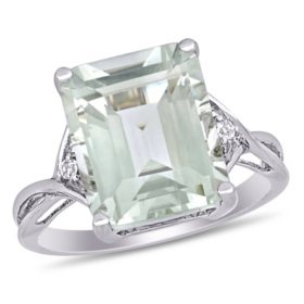 5.63 CT. Emerald-Cut Green Amethyst and White Topaz Cocktail Ring in Sterling Silver
