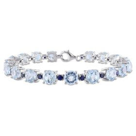 29.52 CT. Sky Blue Topaz and Sapphire Tennis Bracelet in Sterling Silver
