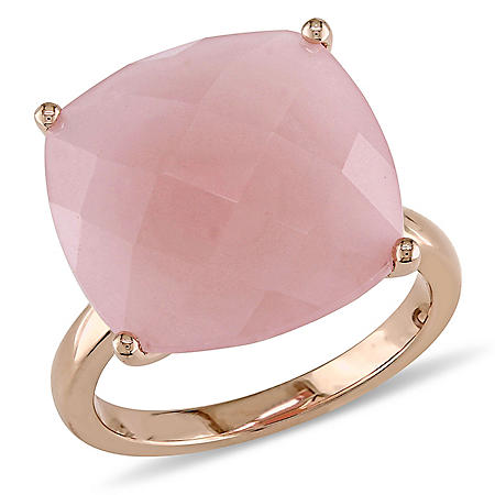 13.7 CT. Cushion-Cut Guava Quartz Cocktail Ring in 14K Rose Gold