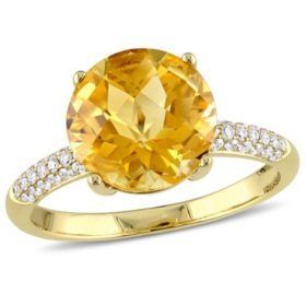 3.34 CT. Checkerboard-Cut Citrine and Diamond Accent Cocktail Ring in 14K Yellow Gold