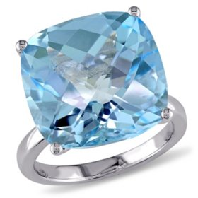18.45 CT. Cushion-Cut Blue Topaz Cocktail Ring in 14K White Gold