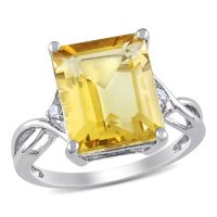Emerald Cut Citrine and White Topaz Cocktail Ring in Sterling Silver