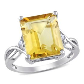 6.61 CT. Emerald Cut Citrine and White Topaz Cocktail Ring in Sterling Silver