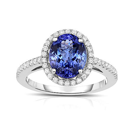 Oval Shaped Tanzanite Ring with Diamonds in 18K White Gold