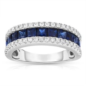 0.25 CT. T.W. Diamond and 1.5 CT. T.W. Sapphire Band