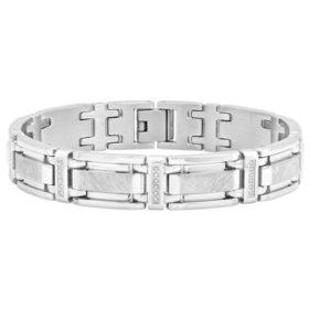 Men's .25 ct. t.w. Stainless Steel Diamond Bracelet