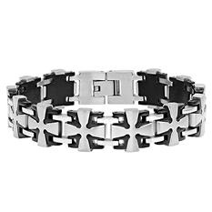 Men's Stainless Steel with Black IP Cross Link Bracelet.