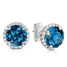 Round-cut London Blue Topaz Stud Earrings with Diamonds in 14K White Gold