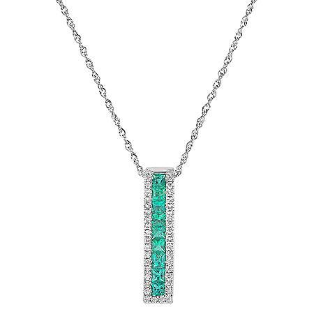 Princess-cut Emerald Pendant with Diamonds in 14K White Gold