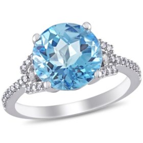 4.55 ct. Natural Blue Topaz Cocktail Ring with Diamonds in 14k White Gold