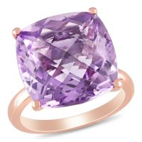 Pink Amethyst Cocktail Ring in 14K Rose Gold