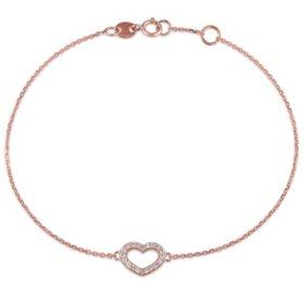 Diamond Heart Link Bracelet in 14K Gold
