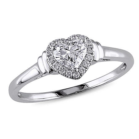 Allura 0.50 CT. T.W. Diamond Halo Heart Engagement Ring in 14K White Gold