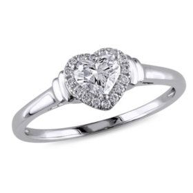 Allura 0.45 CT. T.W. Diamond Halo Heart Engagement Ring in 14k White Gold