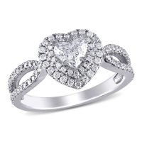 Allura 0.95 CT. T.W. Diamond Double Halo Heart Engagement Ring in 14k White Gold